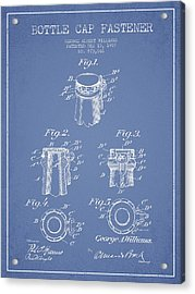 Bottle Cap Fastener Patent Drawing From 1907 - Light Blue Acrylic Print by Aged Pixel