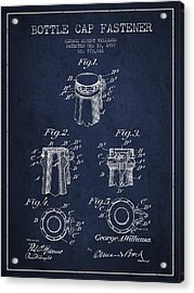 Bottle Cap Fastener Patent Drawing From 1907 - Navy Blue Acrylic Print by Aged Pixel