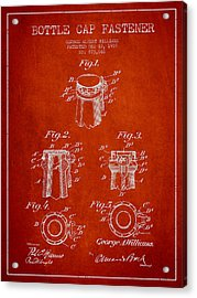 Bottle Cap Fastener Patent Drawing From 1907 - Red Acrylic Print by Aged Pixel