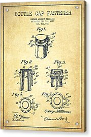 Bottle Cap Fastener Patent Drawing From 1907 - Vintage Acrylic Print by Aged Pixel