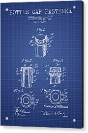 Bottle Cap Fastener Patent From 1907- Blueprint Acrylic Print by Aged Pixel