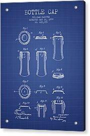 Bottle Cap Patent 1899- Blueprint Acrylic Print by Aged Pixel