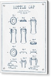 Bottle Cap Patent Drawing From 1899 - Blue Ink Acrylic Print by Aged Pixel