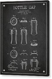 Bottle Cap Patent Drawing From 1899 - Dark Acrylic Print by Aged Pixel
