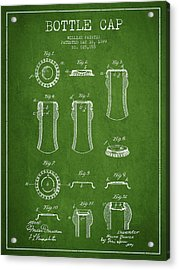 Bottle Cap Patent Drawing From 1899 - Green Acrylic Print by Aged Pixel