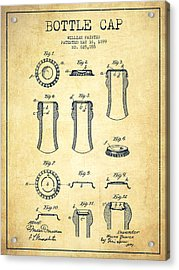 Bottle Cap Patent Drawing From 1899 - Vintage Acrylic Print by Aged Pixel