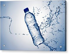 Bottle Water And Splash Acrylic Print by Johan Swanepoel