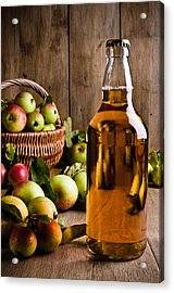 Bottled Cider With Apples Acrylic Print by Amanda Elwell