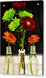 Acrylic Print featuring the photograph Bottled Flowers by Linda Segerson