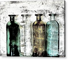 Bottles Against The Wall Acrylic Print by Marsha Heiken