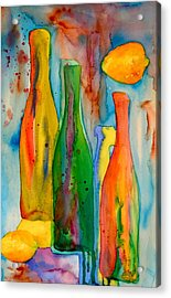 Bottles And Lemons Acrylic Print by Beverley Harper Tinsley