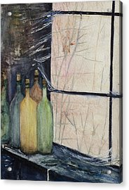Bottles Of Wine In Cellar Acrylic Print by Anais DelaVega