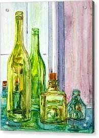 Bottles - Shades Of Green Acrylic Print