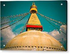 Boudhanath Stupa In Nepal With Blue Sky Acrylic Print