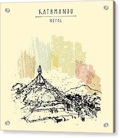 Boudhnath, Boudha. Tibetan Temple In Acrylic Print
