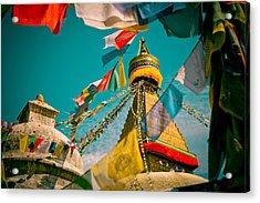 Boudnath Stupa In Kathmandu Nepal Acrylic Print