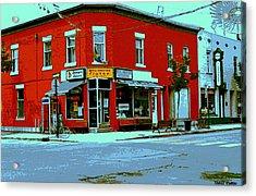 Boulangerie Patisserie Clarke Sandwich Shop Corner Depanneur Montreal Street Scene Art Acrylic Print by Carole Spandau