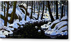 Boulder Brook In Winter Acrylic Print by Frank Wilson
