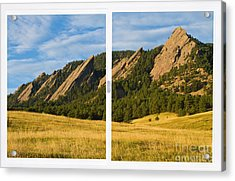 Boulder Colorado Flatirons White Window Frame Scenic View Acrylic Print by James BO  Insogna