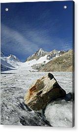 Boulder On A Glacier Acrylic Print