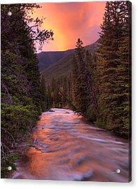 Boulder River Sunset Acrylic Print by Leland D Howard