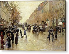 Boulevard Poissonniere In The Rain, C.1885 Oil On Canvas Acrylic Print by Jean Beraud