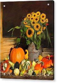 Bountiful Harvest - Floral Painting Acrylic Print by Enzie Shahmiri