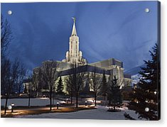 Bountiful Utah Temple In Winter Acrylic Print