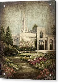Bountiful Utah Temple-pathway To Heaven Antique Acrylic Print