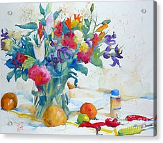 Bouquet And Red Peppers Acrylic Print by Andre MEHU