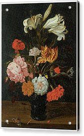 Bouquet In A Roemer Acrylic Print by Jan Baptist Van Fornenburgh