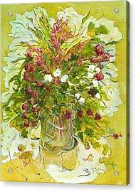 Bouquet Jaune - Original For Sale Acrylic Print by Bernard RENOT