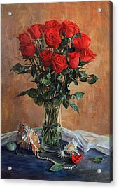 Bouquet Of Red Roses On The Birthday Acrylic Print