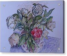 Bouquet Roses Creme Acrylic Print by Agnieszka Praxmayer