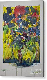 Acrylic Print featuring the painting Bouquet With Blue Flowers by Avonelle Kelsey