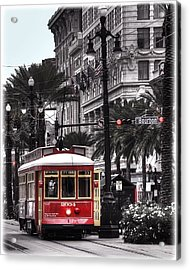Bourbon And Canal Trolley Cropped Acrylic Print