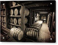 Bourbon Barrels Acrylic Print by Karen Varnas