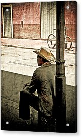 Bourbon Cowboy In New Orleans Acrylic Print by Ray Devlin