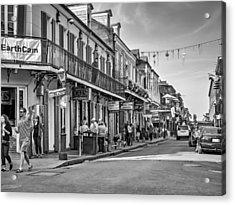 Bourbon Street Afternoon Bw Acrylic Print by Steve Harrington
