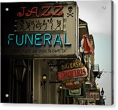 Acrylic Print featuring the photograph Bourbon Street Bar Signs In New Orleans by Ray Devlin