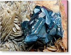 Bournonite On Gypsum Substrate I Acrylic Print