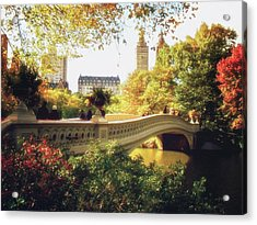 Bow Bridge - Autumn - Central Park Acrylic Print by Vivienne Gucwa
