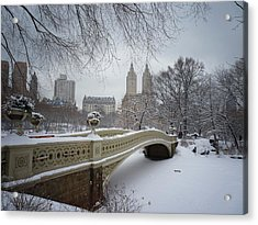 Bow Bridge Central Park In Winter  Acrylic Print