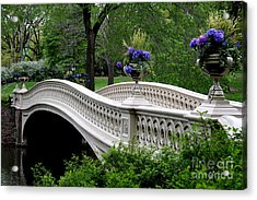 Bow Bridge Flower Pots - Central Park N Y C Acrylic Print