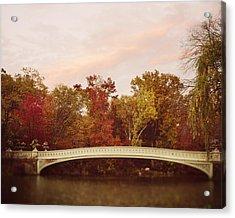 Bow Bridge In Autumn Acrylic Print by Irene Suchocki