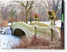 Bow Bridge In Central Park Ny Acrylic Print by Paul Ward