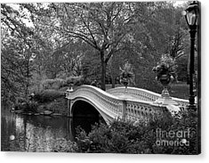 Bow Bridge Nyc In Black And White Acrylic Print