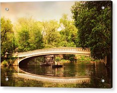Bow Bridge Rowers Acrylic Print by Jessica Jenney