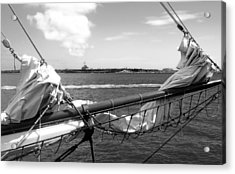 Bow Of A Sailboat Acrylic Print by Ellen Tully