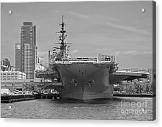 Bow Of The Uss Midway Museum Cv 41 Aircraft Carrier - Black And White Acrylic Print by Claudia Ellis